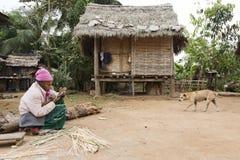 Elderly Woman Making Baskets Royalty Free Stock Photo