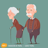 Elderly woman and man walking with sticks. Grandmother and grandfather.Vector characters Royalty Free Stock Images