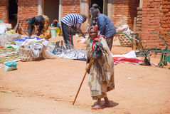 An elderly woman at the market Pomerini in Tanzania, Africa 695 Royalty Free Stock Photography
