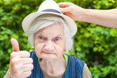 Elderly woman with mental disorder Royalty Free Stock Photo