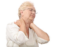 Elderly woman neck pain Stock Photography