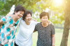 Elderly woman outdoors fun Stock Images