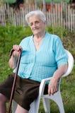 Elderly woman. Outdoors Stock Photos