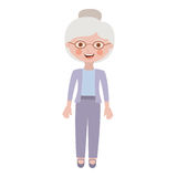 Elderly woman with pants an jacket Royalty Free Stock Image