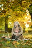 Elderly woman in the park Stock Images