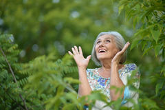 Elderly woman  in park Royalty Free Stock Photo