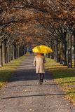 Elderly woman in the park with umbrella Stock Photo