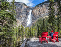 Elderly woman photographs the  waterfall Stock Images