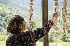Elderly woman picking dried queue garlic in balcony back side vi. Elderly woman picking dried queue garlic in balcony backside view, villagers preserving garlic stock photos