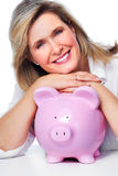 Elderly woman with piggy bank. Royalty Free Stock Photos