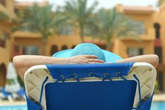 Elderly woman at pool Stock Photos