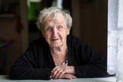 An elderly woman,  portrait. Stock Photos