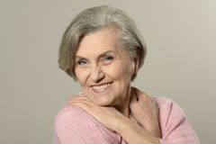 Elderly woman portrait stock image