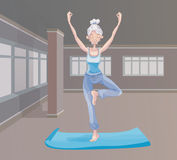 An elderly woman practice yoga in the gym, standing on one leg. Active lifestyle and sport activities in old age. Vector Stock Image