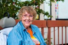 Elderly woman. Pretty senior woman outdoor portrait Stock Photo