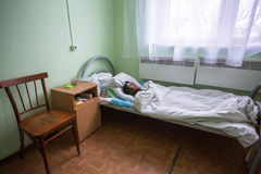 Elderly woman in rehabilitation department in Center of social services for pensioners and the disabled Stock Image