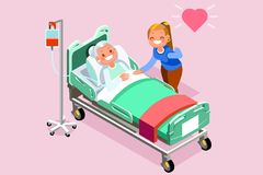 Retirement Home Isometric People Vector. Elderly woman at retirement home. Isometric people in 3D flat design. Vector Illustration Stock Photos