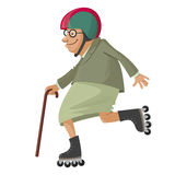Elderly woman on roller skates Stock Photography