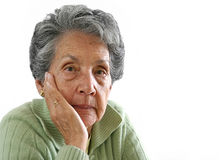 Elderly woman's portrait - isolated Stock Image
