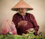 Saigon, Vietnam - June 2017: elderly woman selling bananas on street market, Saigon, Vietnam. Elderly woman selling bananas on market in Vietnam Royalty Free Stock Photo