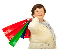 Elderly woman at shopping Royalty Free Stock Photography