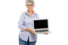 Elderly woman showing something on a laptop Royalty Free Stock Photo