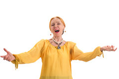 Elderly woman singing. Stock Photo