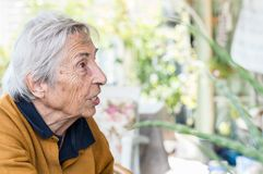 Elderly woman sitting in the balcony having  conversation with her family. Royalty Free Stock Photo