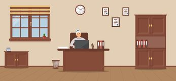 An elderly woman sitting in the workplace in a spacious office on a cream background vector illustration