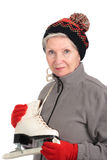 Elderly woman with skates Stock Photo