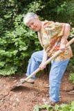Elderly woman spades a vegetable garden Stock Photography