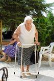 Elderly woman standing with her walker Royalty Free Stock Photo
