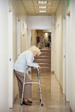 Elderly Woman Standing In Passageway. Full length of a tired elderly woman with walker standing in hospital passageway Stock Photos
