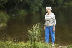 An elderly woman stands on the banks of the lake. Walking. Stock Photography
