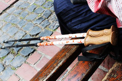 Elderly woman stick Royalty Free Stock Image