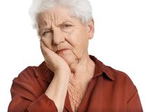 Elderly woman suffering from tooth ache Stock Photo
