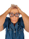 Elderly woman with surprised expression Stock Photo