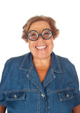 Elderly woman surprised with funny glasses. Royalty Free Stock Photos