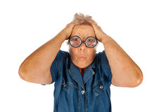 Elderly woman surprised with funny glasses. Stock Photos