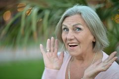 Elderly woman surprised in  park Stock Image