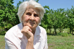 An elderly woman, thought Royalty Free Stock Photography