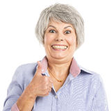 Elderly woman with thumbs up stock photos