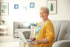 Elderly woman using laptop Royalty Free Stock Photo