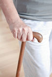 Elderly Woman with Walking Stick royalty free stock photos