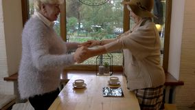 Elderly woman waving hand. Two ladies talking in cafe. Day starts from pleasant conversation stock video footage