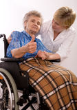 Elderly woman in wheelchair Stock Photography