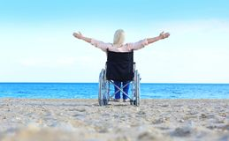 Elderly woman in wheelchair Royalty Free Stock Images