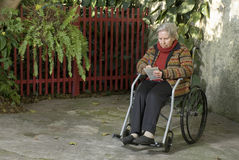 Elderly Woman in Wheelchair - Horizontal Stock Photography