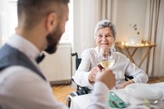An elderly woman in wheelchair sitting at the table on a indoor party, clinking glasses. An elderly women in wheelchair sitting at the table on a indoor royalty free stock photography