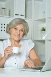 Elderly woman working on laptop Royalty Free Stock Image